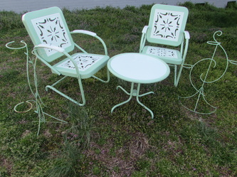 Vintage Metal Chairs And Retro Patio Tables Gliders Old Fashioned Furniture Company