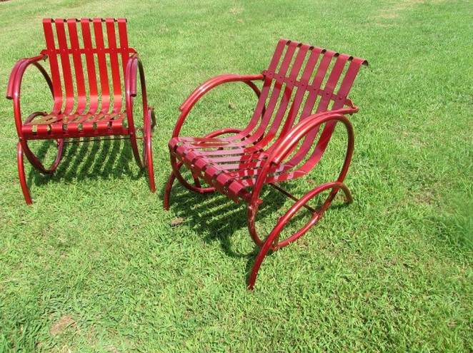 Vintage Metal Gliders,Old Fashioned Metal Chairs And Retro Metal
