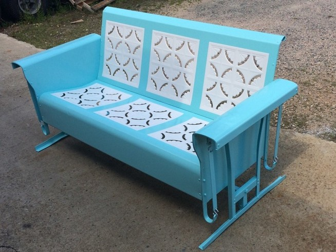 Powdercoated Restored Vintage Metal Patio Gliders