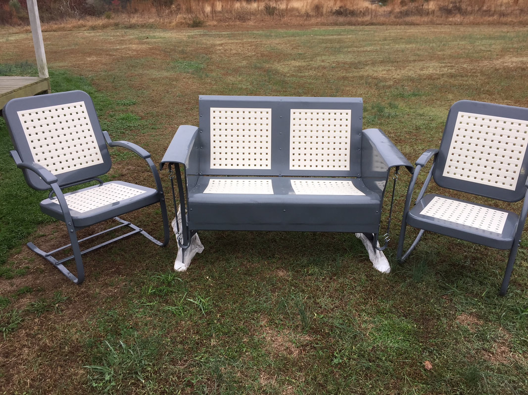 furniture metal. Basketweave Pattern Loveseat Metal Porch Glider With Matching Bouncer And Rocker.All Pieces Refurbished Powdercoated In Beautiful \ Furniture I